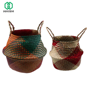 WHISM Handmade Rattan Flower Basket Folding Garden Pot Planters Decorative Flowerpot Garden Nursery Pots Seagrass Wicker Basket