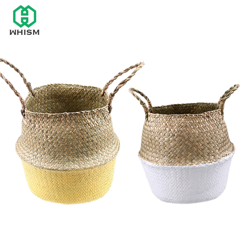 WHISM Seagrass Flowerpot Straw Rattan Garden Pots Planters Wicker Basket Woven Nursery Pot Handmade Flower Pot Garden Supplies