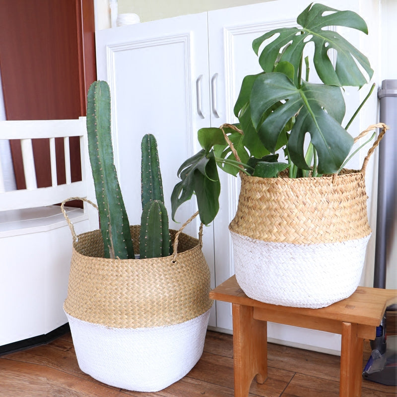 WHISM Plant Nursery Pot Handmade Flower Pot Seagrass Flowerpot Planters Wicker Basket Straw Rattan Garden Pots Garden Supplies
