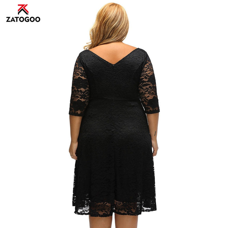 Lady Half Sleeve Slim Lace