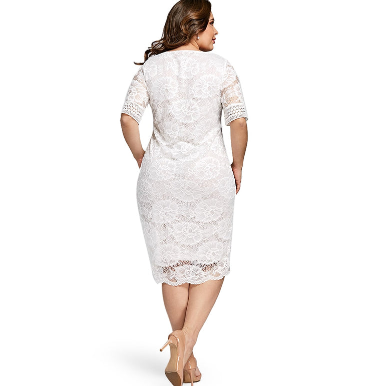 Neck Half Sleeve Lace Dress Bodycon
