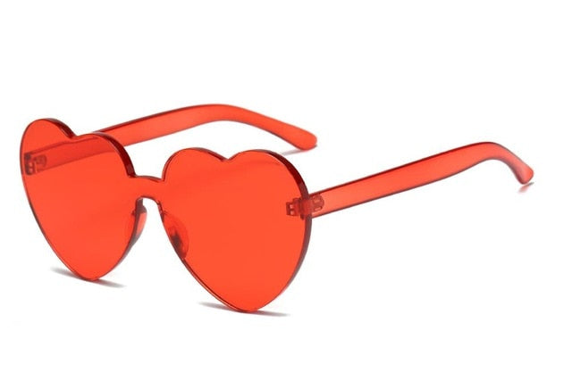 Cute Retro Love Heart  Rimless Sunglasses