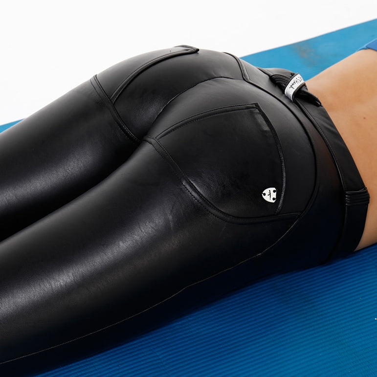 Leather Yoga Sex Pants Womens Black