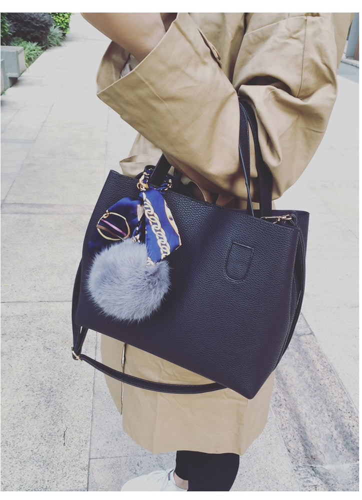 Leather Hair Ball Shoulder Bag