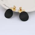 Earrings Gold Black Metal Round
