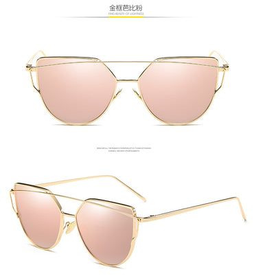Luxury Cat eye Flat Rose Sun Glasses