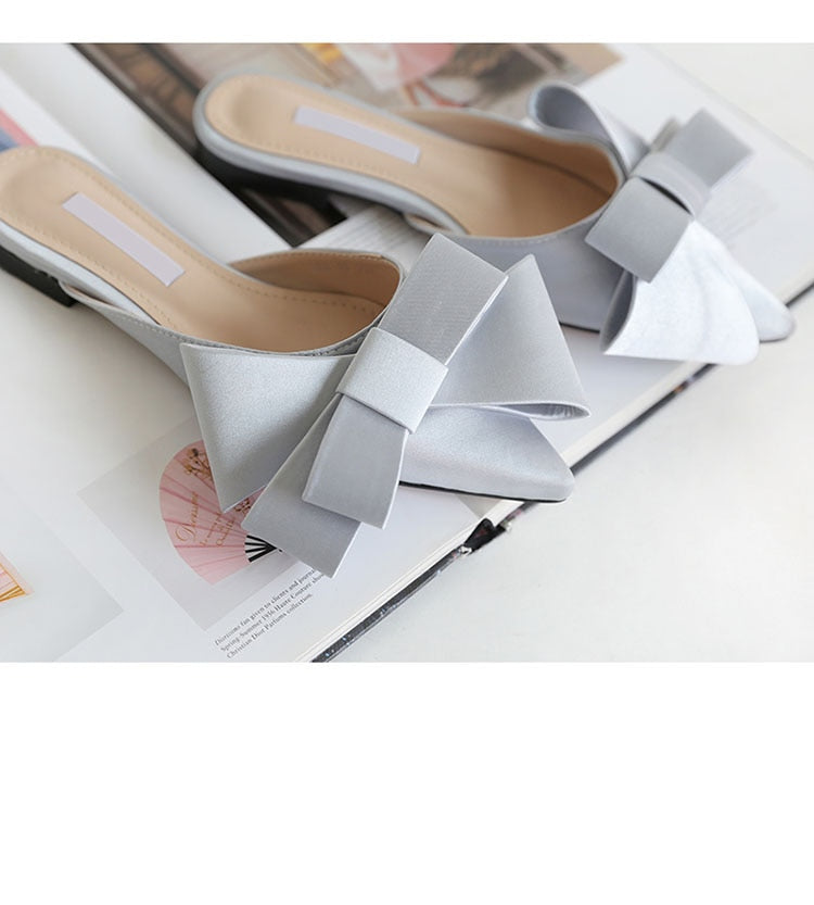 Korean silk satin Pointed bow tie slippers