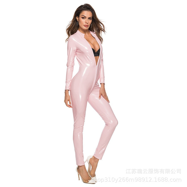 Leather Women Open Crotch Jumpsuit