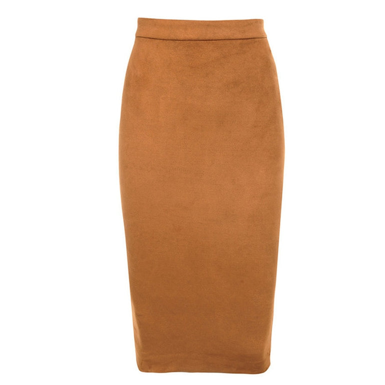 Leather Zipper Midi Skirts