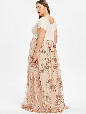 Short Sleeves Floral Sparkly Maxi Dresses