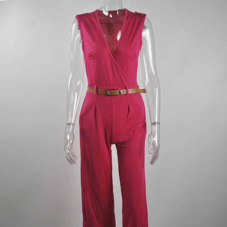 Women sashes high waist jumpsuit