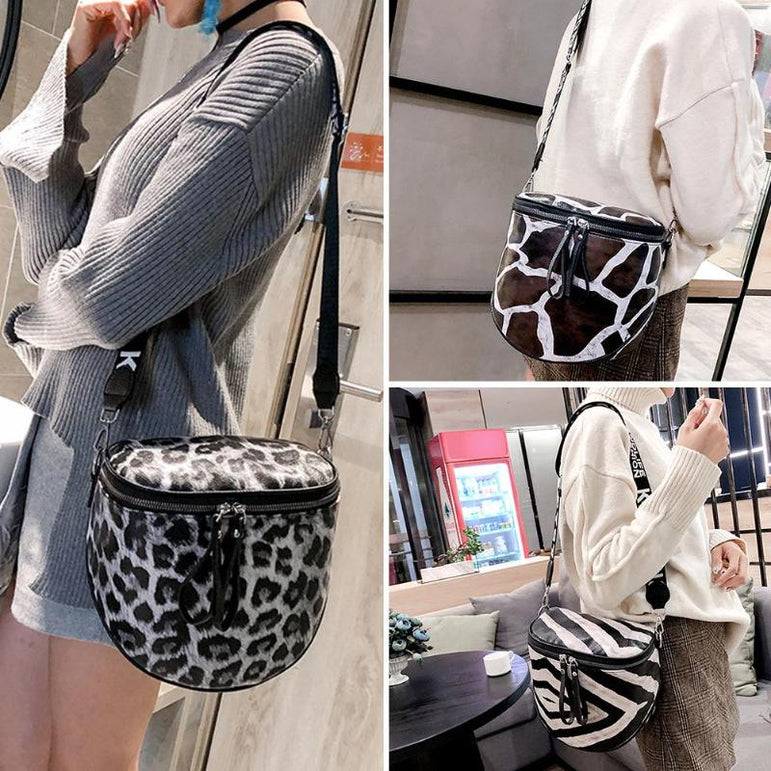 Leather Leopard Crossbody Bag