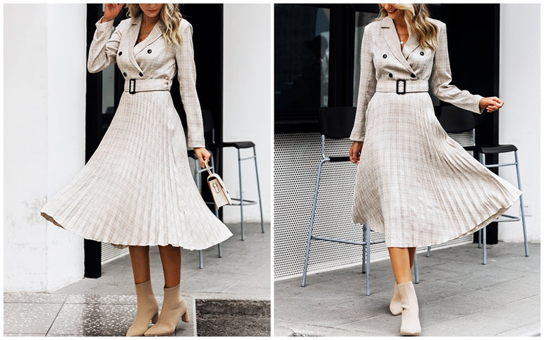 Elegant Blazer dress Button belt long sleeve