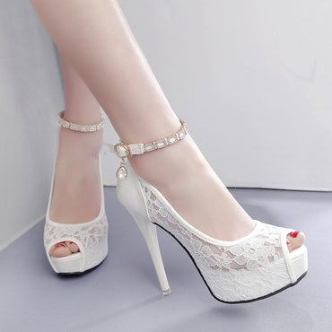 Lace Wedding Peep Toe High Heel