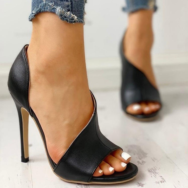 Leather Super High Heel Fish Head Pump
