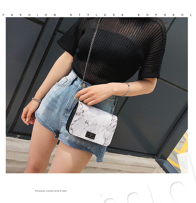 Pattern Shoulder Bag Lock Buckle Wild Messenger