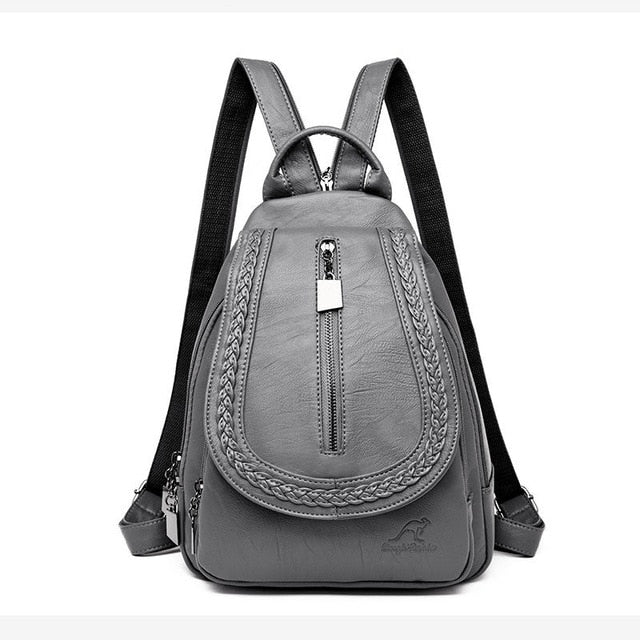 Leather Backpacks Zipper Female