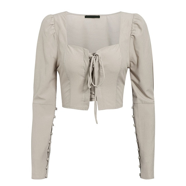 Long Sleeve Short Blouses