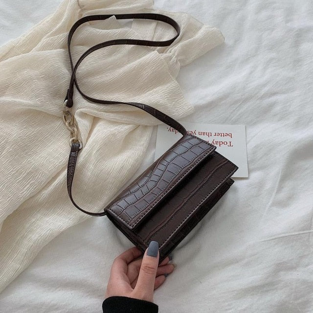 Leather Crossbody Stone Shoulder Bag