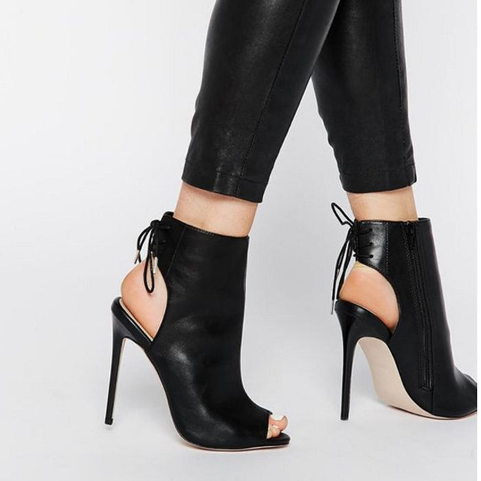 Sexy Pumps Heels Lady Black Peep Toe