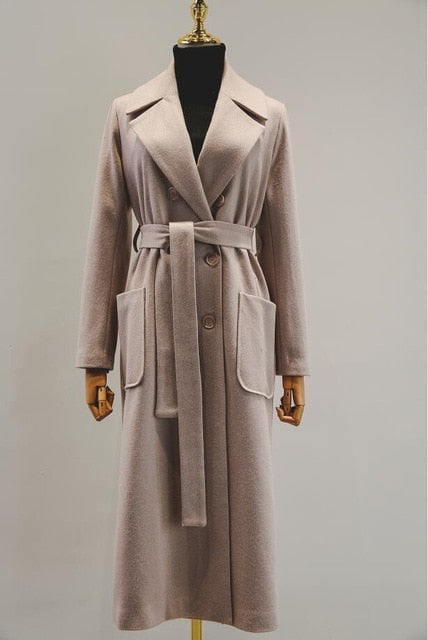 Autumn Winter Cassic Simple Wool Maxi Long