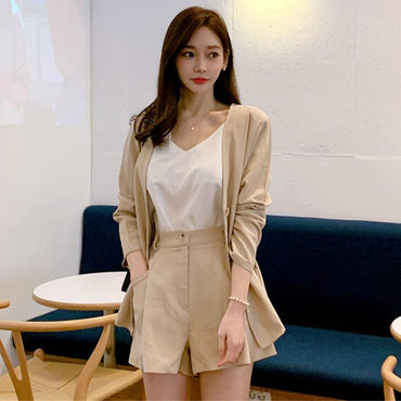 long sleeves thin jacket with short wide legs