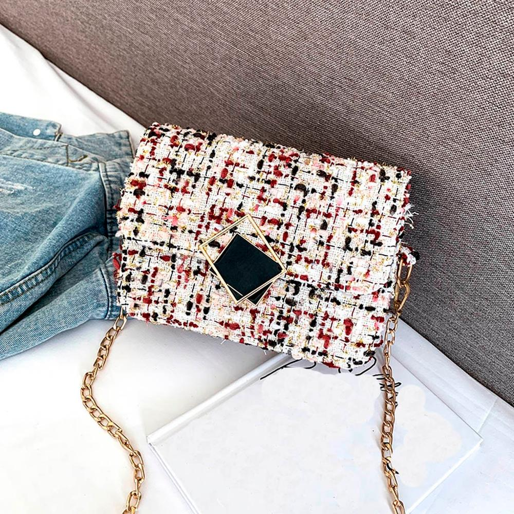 Wool Woven Classic Plaid Flap Bag