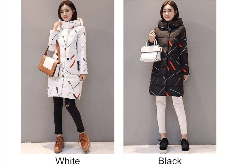 Elegant Long Sleeve Warm Zipper Parkas