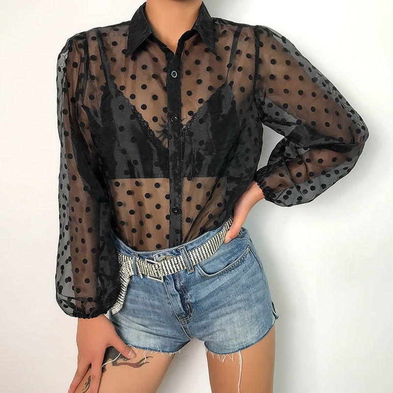 Sexy Tee Shirts Turn-down Collar Polka Dots