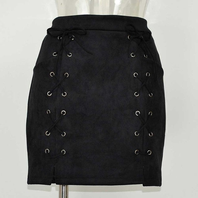 Lace Up Casual High Waist Pencil Mini Skirt