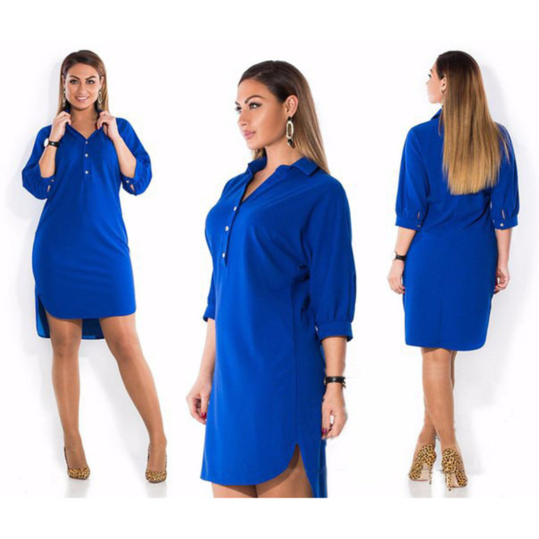Turn Down Collar Split Dress