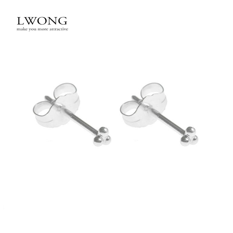 Silver Three Ball Stud Earrings