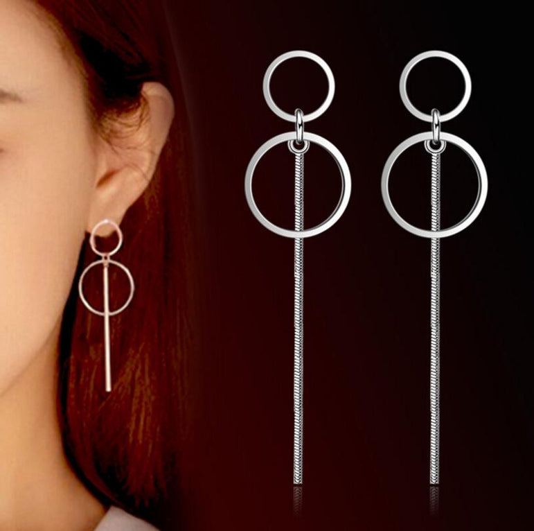 Circle Tassel Long Earrings