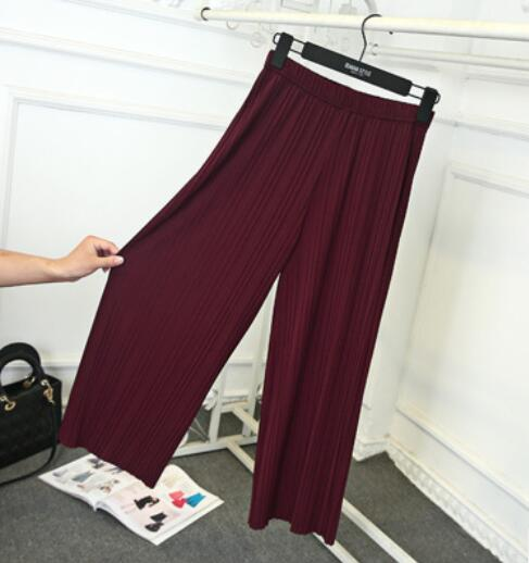 Pant Pleated chiffon wide leg pants