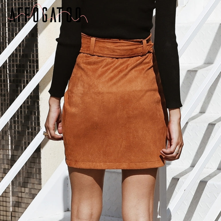 High waist suede leather skirts
