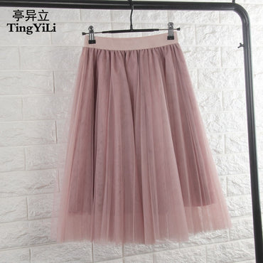 Tulle Skirt Elastic High Waist
