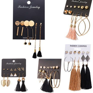 Long Tassel Stud Earrings Set
