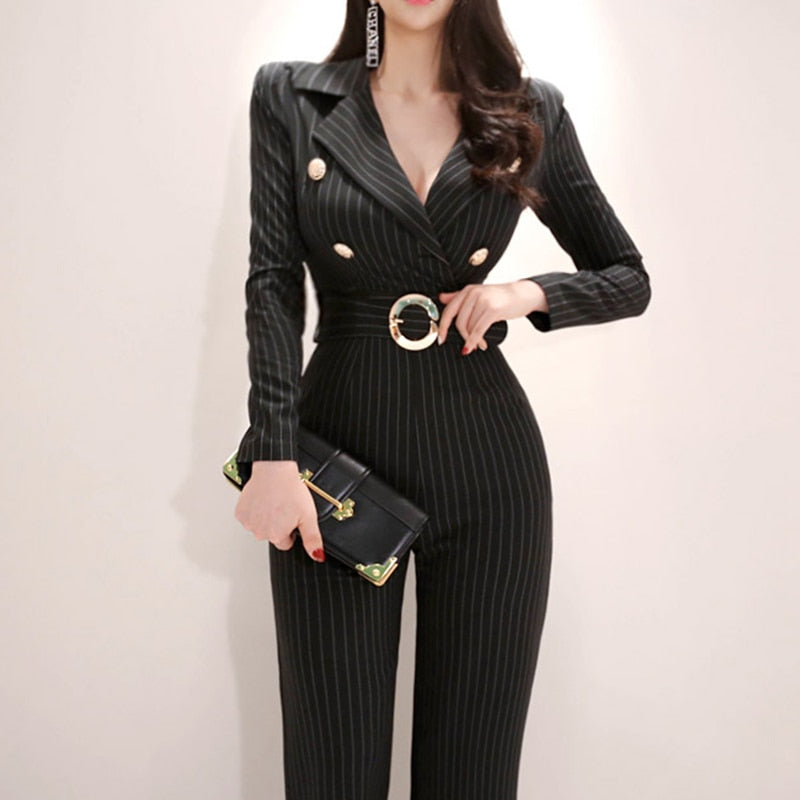 Long Sleeve Striped Jumpsuit