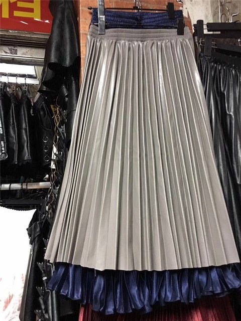 leather pleated skirt elastic high waist