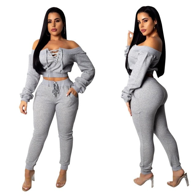 Spring Women Knitted Sexy 2 Piece Set