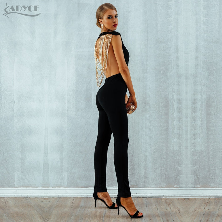 Elegant Beads Sexy Backless Jumpsuits