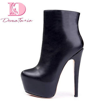 Leather Nightclub Shoes Woman Sexy High