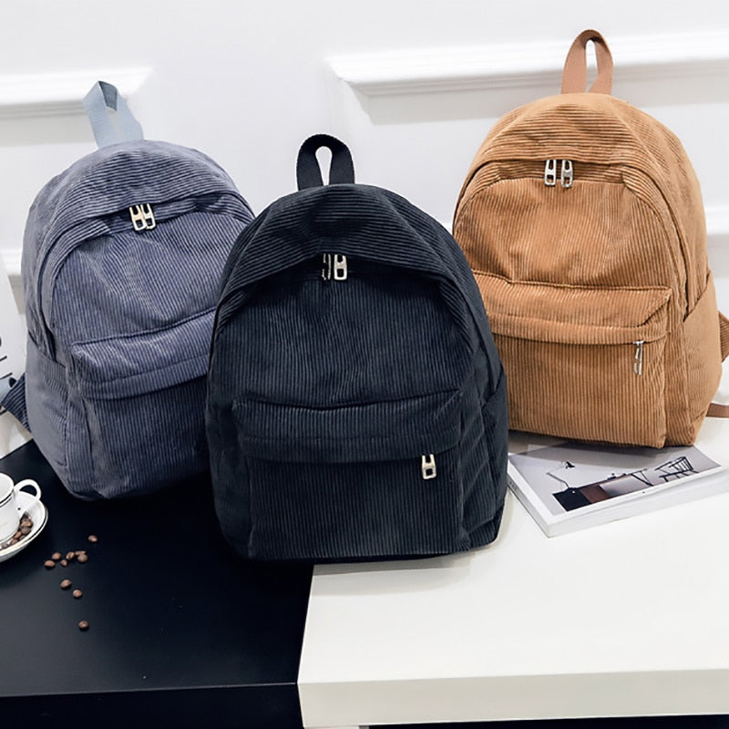 Pure Color Corduroy Backpack