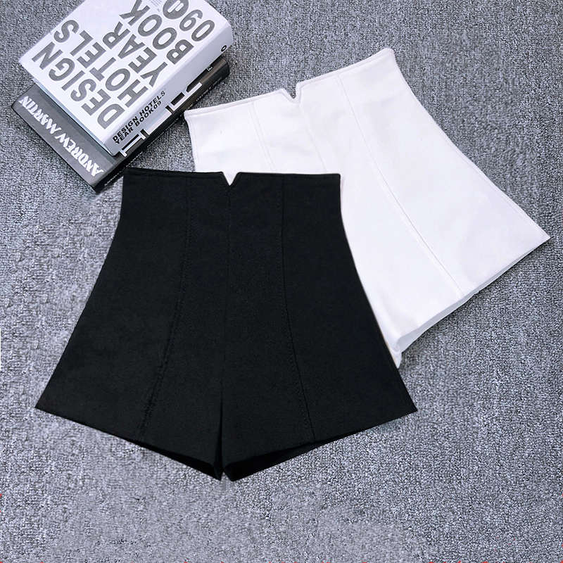 White Black Stretch Suit Shorts