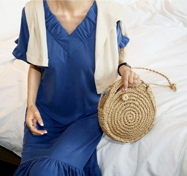 Straw Shoulder Bag Small Beach HandBags