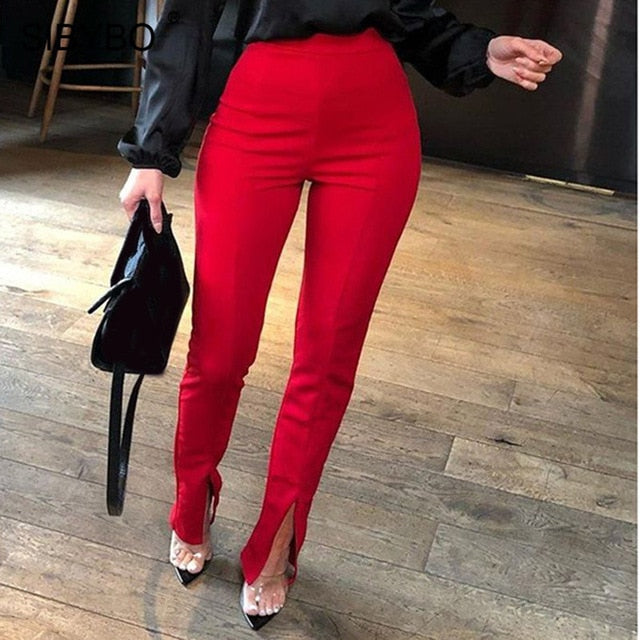 High Waist Split Summer Pants sexy