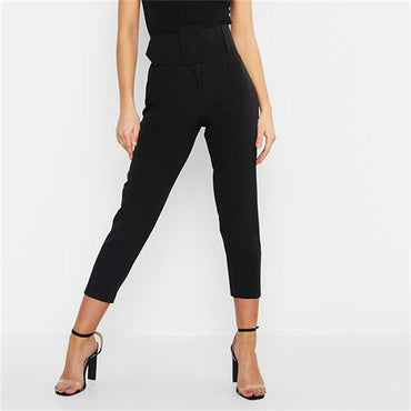 Pants Women Belt Ankle Length
