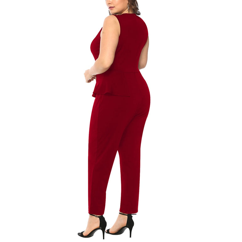 Plus Size Woman Sleeveless Jumpsuits