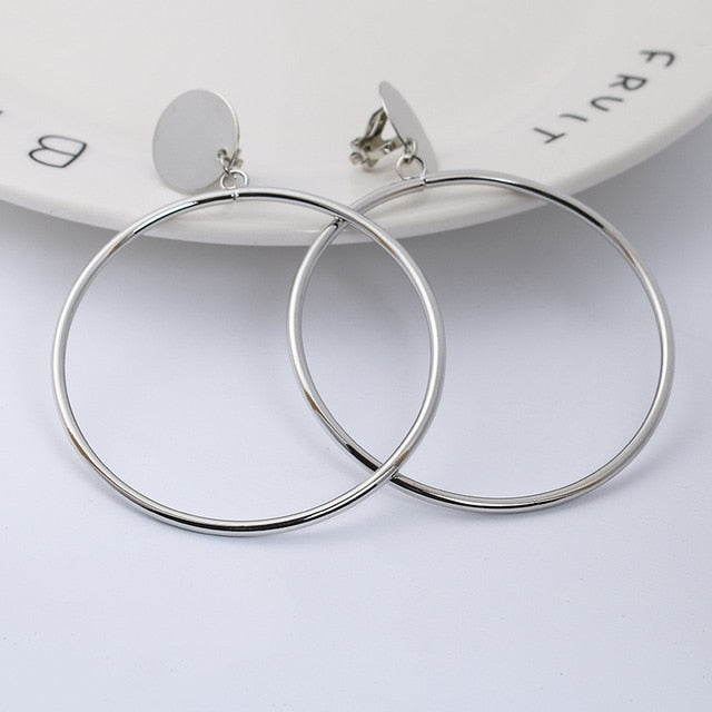 Plated Geometric Big Round No Pierced