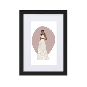 Elegant Woman in White - Matte Paper Framed Poster With Mat